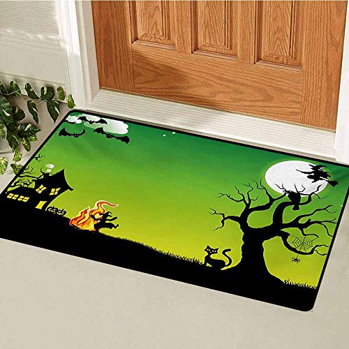 GUUVOR Halloween Universal Door mat Witches Dancing with Fire and Flying at Halloween Ancient Western Horror Image Door mat Floor Decoration W31.5 x L47.2 Inch Green Black -