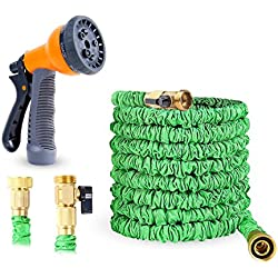 Ohuhu Expandable Garden Hose, 25 Feet Strong Expanding Garden Hose, 25 ft Flexible Water Hose with All Brass Connector & 8-Pattern High Pressure Spray Nozzle