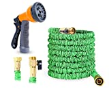 Ohuhu 100 FT Expandable Garden Hose, GreenExpandable Garden Hose, 100 Feet Expanding Hose, 100 ft Flexible Water Hose with 3/4 Solid All Brass Fittings Connector & 8 Function High Pressure Spray
