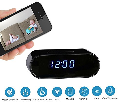 Clock Hidden Camera : Spy Camera - WiFi with Full HD 1080P - Motion Detection Activation Alarm - Night Vision - Home Security - (LATEST UPGRADED (Hidden Clock)