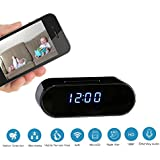 Clock Hidden Camera : WiFi with Full HD 1080P Motion Detection Activation Alarm - Night Vision - 12 Hour System - Home Security - Spy Camera