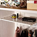 Csstel Adjustable Storage Rack Shelf, Retractable Layed Separator Shelf with 4 Pinch Plates for Wardrobe, Cupboard, Kitchen, Bathroom, Bookcase Compartment Collecting/48-75cm (Beige)