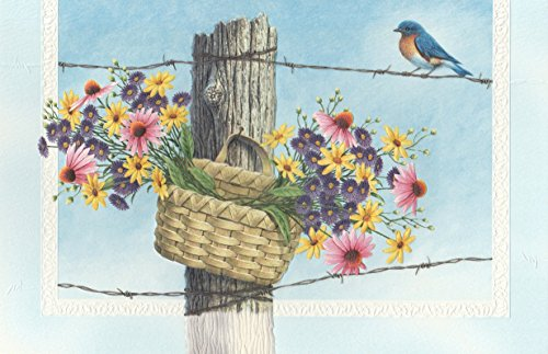 Birthday Greeting Card Bluebird Basket Of Wildflowers
