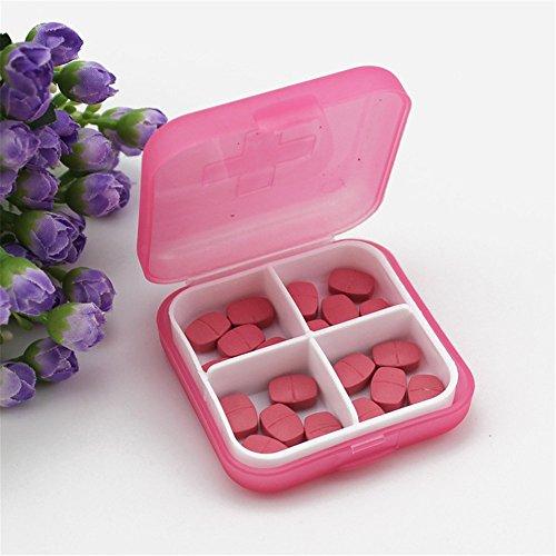 Gotian Mini 4 Slots Portable Medical Pill Box Drug Medicine Case Organizer - Cross Plastic Small Pill Box with Medicine Storage Box - Specially Designed for Storage Pills (Pink) ()