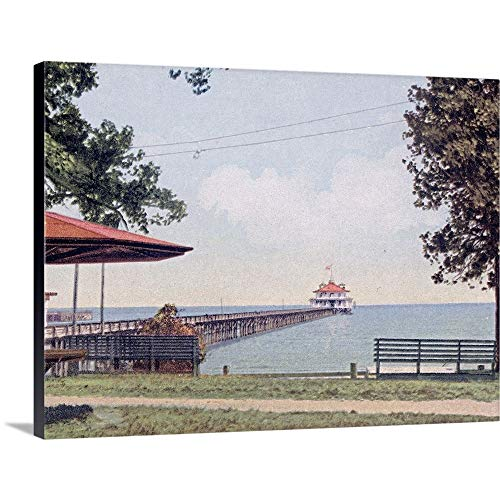 GREATBIGCANVAS Gallery-Wrapped Canvas Entitled The Yacht Club Pier Monroe Park Mobile Alabama Vintage Photograph by The Henry Ford 40