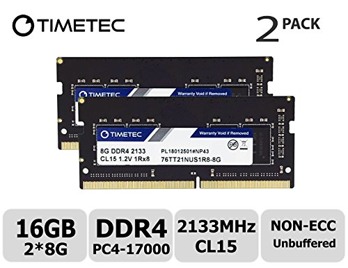 Timetec Hynix IC 16GB Kit (2x8GB) DDR4 2133MHz PC4-17000 Unbuffered Non-ECC 1.2V CL15 1Rx8 Single Rank 260 Pin SODIMM Laptop Notebook Computer Memory RAM Module Upgrade (16GB Kit (2x8GB)) ()