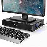 GOgroove 2.1 USB Powered Computer Speaker & Monitor Stand - SonaVERSE BSE Sound Base 3'' Desk Monitor Riser w/Powered Subwoofer, Mic & Headphone Jacks, Volume & Bass Controls, 2-in-1 Speaker & Riser