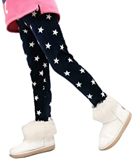4034b5c3b4cbf Girl's Thicken Tights Winter Thermal Fleece Lined Leggings Little Kids  Stretchy Printed Pants