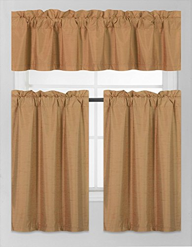 Elegant Home Collection 3 Piece Solid Color Faux Silk Blackout Kitchen Window Curtain Set with Tiers and Valance Solid Color Lined Thermal Blackout Drape Window Treatment Set - Kitchen Kitchen Tier Curtains