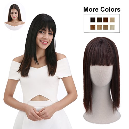 REECHO Clip in Bangs with Scalp Synthetic Straight Hair Extensions Hair Closure Piece Hairpieces 3 Clips in for Women - Dark Brown by REECHO