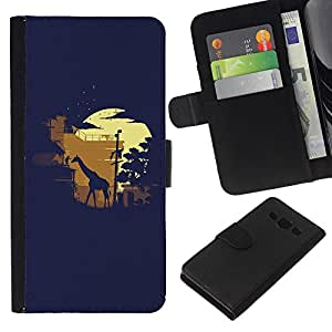 Planetar® Colorful Pattern Flip Wallet Leather Holster Protective Skin Case Cover For Samsung Galaxy A3 / SM-A300 ( Moonlight Safari Giraffe )