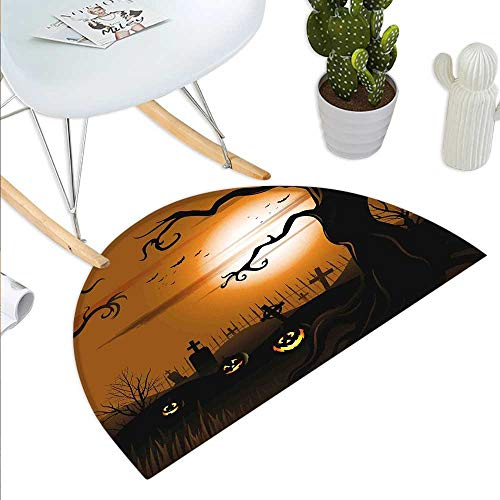 Anniutwo Halloween Half Round Door mat Outdoor Leafless Creepy Tree with Twiggy Branches at Night in Cemetery Graphic Drawing Half Round Coir Door mat Brown -