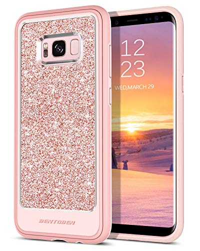 Case Compatible with Galaxy S8 Plus, BENTOBEN Glitter Bling Shockproof Drop Protection [Detachable Hard PC Back] Hybrid PU Leather Soft TPU Edge 2 in 1 Phone Case for Samsung Galaxy S8 Plus Rose Gold