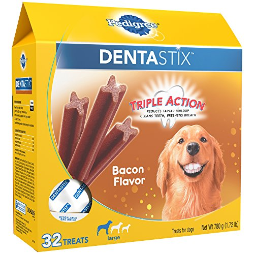 PEDIGREE DENTASTIX Large Dental Dog Treats Bacon Flavor, 1.72 lb. Pack (32 Treats)