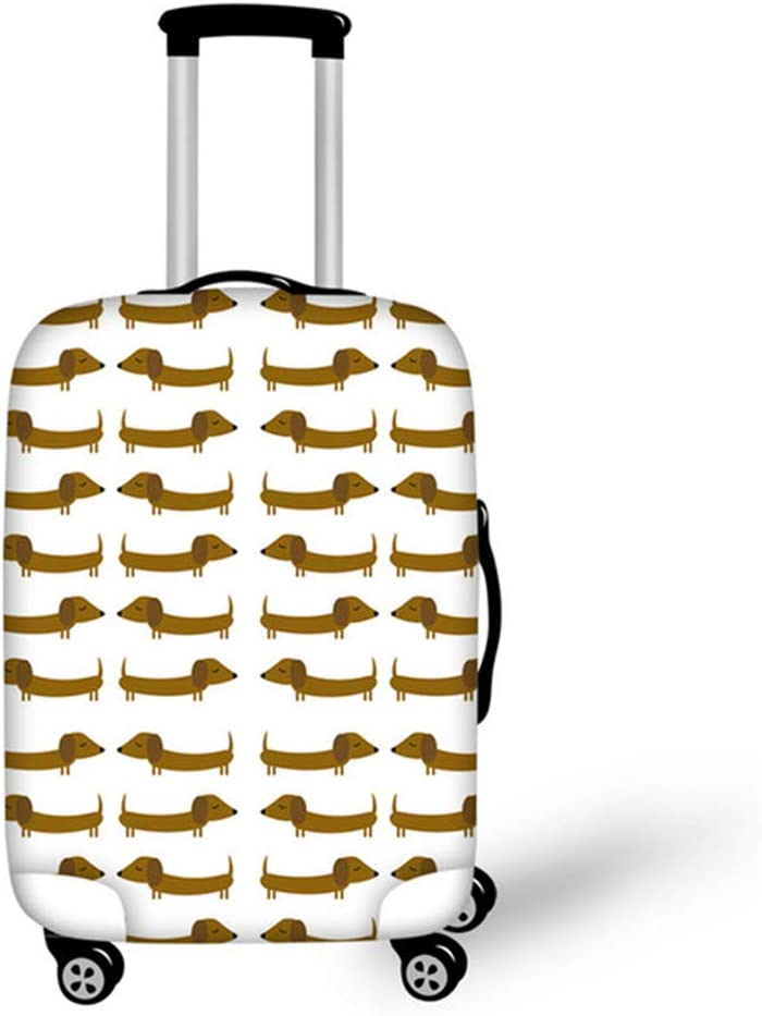 Instantarts Cute Girl Baggage Suitcase Dachshund Printing Luggage Cover Protector M