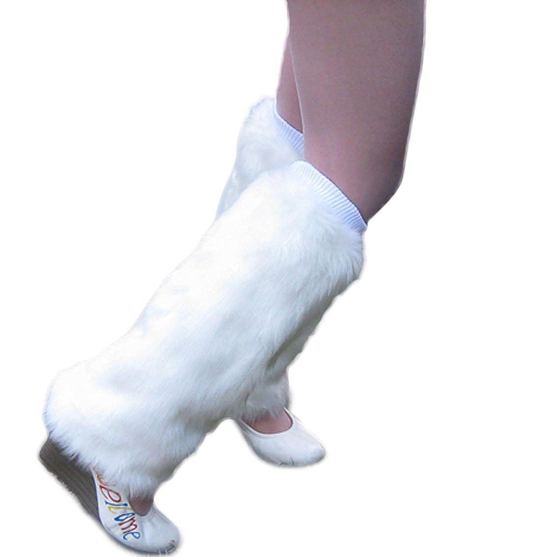 Nanxson(TM) Women's Knit Acrylic Long Leg Warmer with Fur TTW0034 TTW0034 black