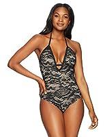 Coastal Blue Women's Standard Deep V Neck Crochet One Piece Swimsuit, Ebony, L