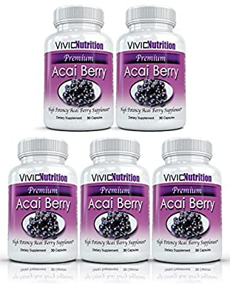 PREMIUM ACAI (5 Bottles) - High Potency, Pure Acai Berry Supplement. The All-Natural Diet, Weight Loss, Colon Cleanse, Detox, Antioxidant Superfood Product. by Vivid Nutrition Premium Acai Berry