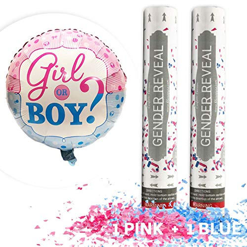 Gender Reveal Confetti Cannon Bundle- Baby Reveal Party Supplies - Set of 1 Pink and 1 Blue Confetti Poppers