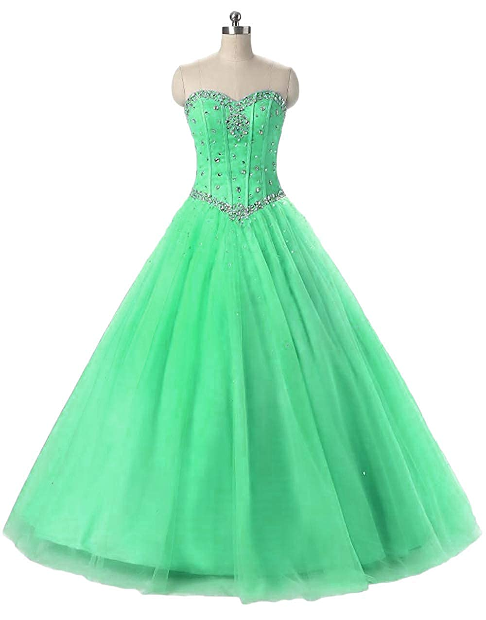 Style Agreen Liaoye Women's Halter Beaded Long Prom Dress Sweet 16 Quinceanera Ball Gown