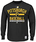 Majestic Pittsburgh Pirates MLB Mens Long Sleeve Color Block Shirt Black Big & Tall Sizes