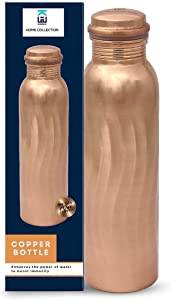 Kamas Home Collection 100% Pure Copper Water Bottle Handcrafted   34 Oz 1 Litter Extra Large Copper Water Vessel - Drink More Water Bottle – Large -Leak Proof - Smooth Finish(Wave Polished)
