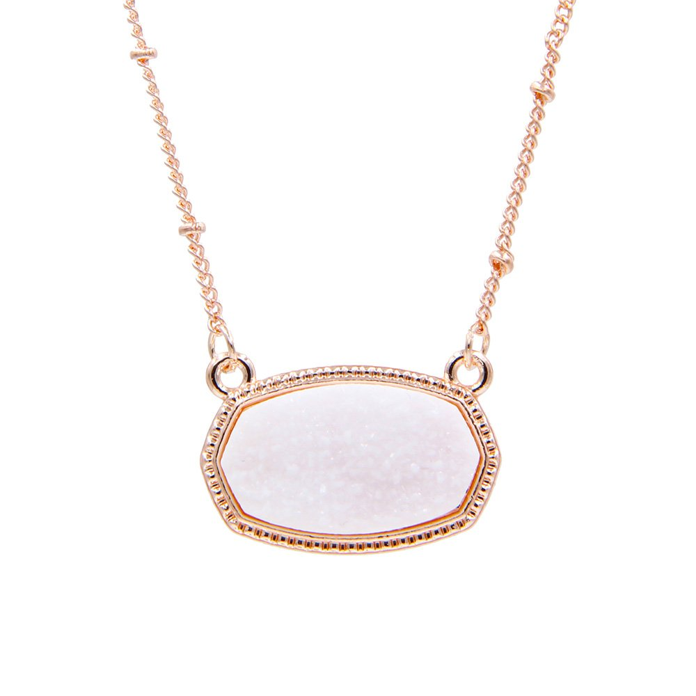 YUJIAXU Sparkling Faux Druzy Oval Pendent Short Necklace for Women's Gift Outfit Jewelry (Rose Gold + White Drusy)