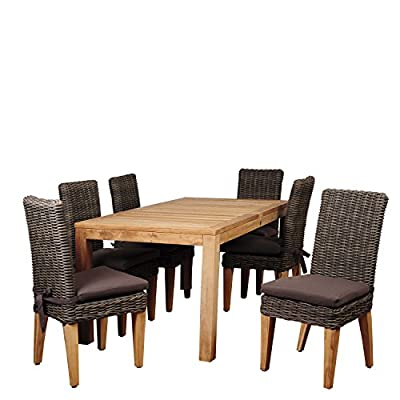 Brampton SC RINREC_6SINGA Amazonia Ashland 7 Piece Teak/Wicker Rectangular Dining Set with Brown - Amazonia Teak Collection Table dimensions: 63lx35wx30h Armchair dimensions: 25lx24wx35h Armchair seat dimensions: 19dx17wx17h Cushion thickness: 2in High Quality Teak Wood (Tectona Grandis) - patio-furniture, dining-sets-patio-funiture, patio - 516YoHqoTxL. SS400  -