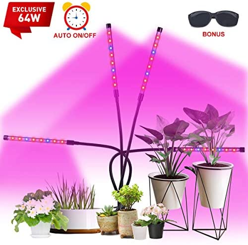 VAZILLIO Led Grow Light, Exclusive 64W 4 Heads Plant Growing Lamp Bulbs Auto ON Off with 4 8 12 H Timer Improved Clip Thicken Gooseneck for Indoor Plants Veg and Flower