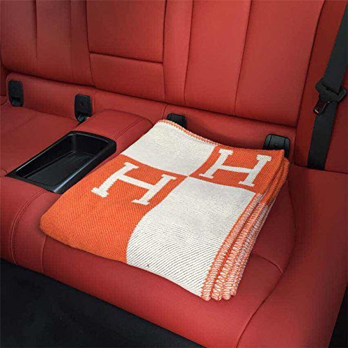 Initial Letter H Cashmere Knitted Throw Blanket for Couch/Chair/Love Seat/Car Camping Blanket Shawl -