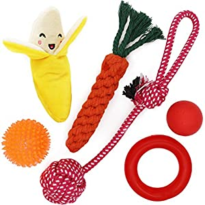 Small Dog Toys Set 6 Pack Ball Rope and Chew Toys for Small Dog Puppy 22