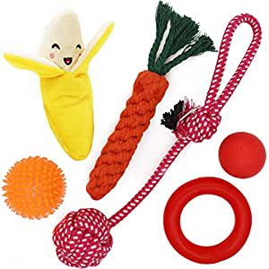 Pet Supplies : Small Dog Toys Set 6 Pack Ball Rope and