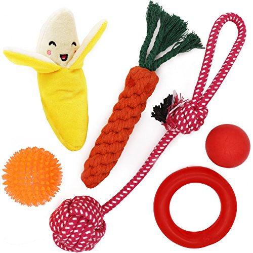 Small Dog Toys Set 6 Pack Ball Rope and Chew Toys for Small Dog Puppy (Best Toys For Pug Puppies)