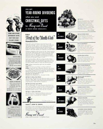 1948 Ad Christmas Gifts Harry David Bear Creek Orchards Pear Apple Peaches Grape - Original Print Ad