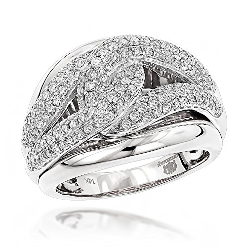 Diamond Love Knot Eternity Ring (Luxurman 14K Cocktail Love Knot Natural Diamond Ring For Women (White Gold Size 7))