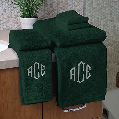 Personalized Monogrammed Decorative Bath Linens for Home, Office, and Gifts. Hotel Collection 100% USA Made 6-Piece Towel Set - Hunter Green - 2 Bath, 2 Hand & 2 Wash Towels. Boutique Towels. by 1888 Mills