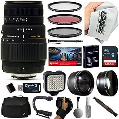 Sigma 70 - 300 mm Lente con 64 GB para Canon EOS Rebel T6, T5 y T3 ...