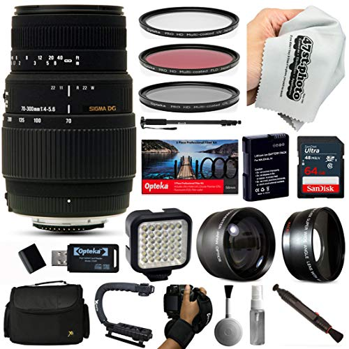 Sigma 70-300mm f/4-5.6 DG Macro Telephoto Zoom Lens with 64GB SD Card, 3pcs Filter Kit, VL-5 LED Video Light, 72″ Monopod, 10pcs Cleaning Kit and Advanced Accessory Kit for Canon DSLR Cameras (509101)