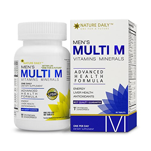 Nature Daily Men's Multi M Vitamins Minerals, Advanced Health Formula, One A Day, 60 Tablets, Whole Food Multivitamins, Supplements