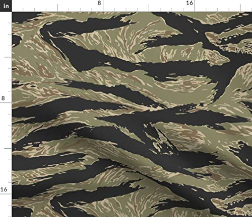 Spoonflower Camo Fabric - Tiger Camouflage Animal Print Boy Nursery Tiger Stripe Camo Vietnam Nursery Print on Fabric by The Yard - Eco Canvas for Durable Upholstery Home Decor Accessories