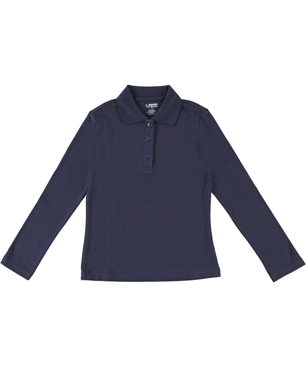 French Toast School Uniforms Girls Ls Polo Shirt with Picot Collar