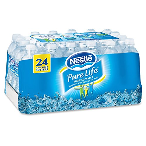 Nestl Pure Life Bottled Purified Water, 16.9 oz. Bottles, 24/Case