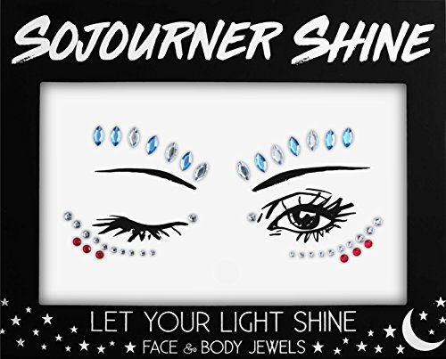 Face Jewels Glitter Gems Rhinestones – Eye Body Jewels Gems | Rhinestone Stickers | Body Glitter Festival Rave & Party Accessories by SoJourner (Blue Stone)
