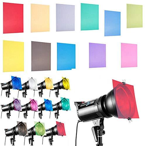 Runshuangyu 12 x 12 Inch 11 Pack Transparent Color Correction Gel Filter Sheet for Strobe Light Photography Flash Photo Studio Lighting by Runshuangyu