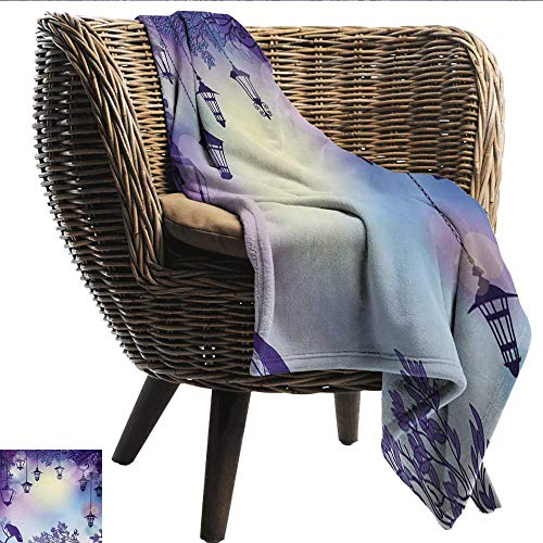 Printing Blanket Lantern Ancient Street in a Sinister Violet Environment Raven on a Branch Night All Season Light Weight Living Room W40 xL60 Sofa,Picnic,Camping,Beach,Everyday use