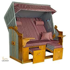 Playa cesta herings Pueblo Royal XL Buc, trenzado plateado, funda granate de color blanco rayas, incluye cubierta, Montado, LILIMO®