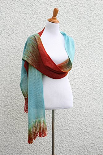 Woven scarf, pashmina scarf, gift for her, women scarf, blue scarf, red scarf, long scarf, scarf with fringe, wool scarf, gift for him by KGThreads