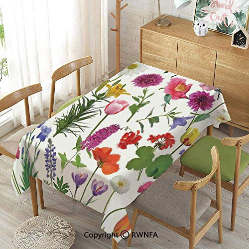 Homenon 100% Polyester Tablecloths for Rectangle Tables,Types of Flowers Colored Roses Tulips Daisies Hydrangeas Lilacs Artwork Print,Machine Washable,Multicolor,52