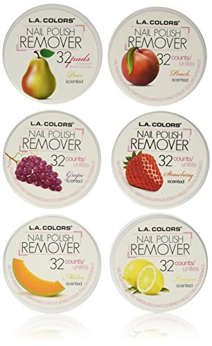 Nail Enamel Remover (L.A. Colors Nail Polish Remover Pads 6 Fruit Scents (32 Pads of each))