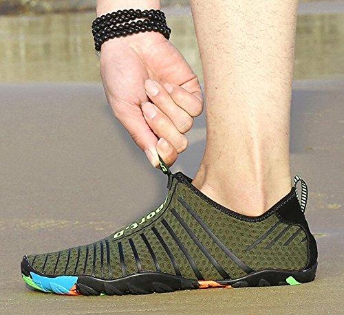 CAI Hommes Femmes Chaussures À l'eau À Séchage Rapide Sport Aqua Chaussures Unisexe Chaussures De Natation Hommes Et Femmes Sports en Plein Air Wading Plongée Chaussures (Couleur : Bleu, Taille : 39) Vert